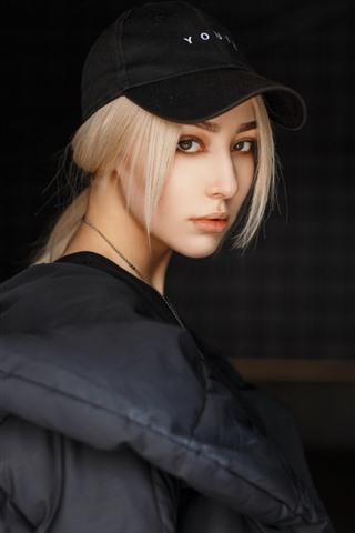 iPhone Wallpaper Blonde girl, cap, coat