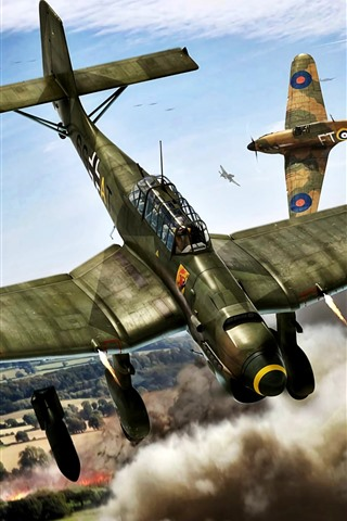 iPhone Wallpaper Bomber, war, art picture