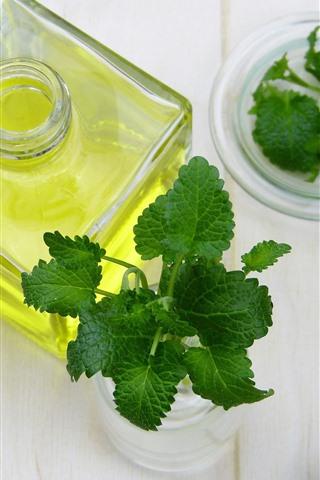 iPhone Wallpaper Bottle, oil, green mint leaves