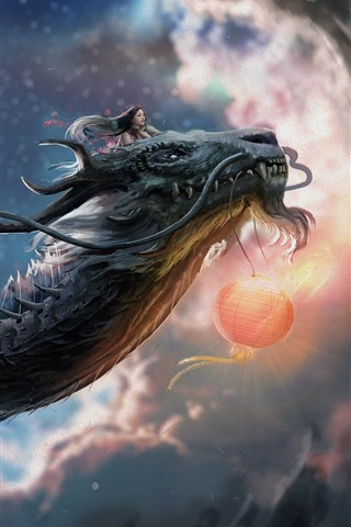 iPhone Wallpaper Chinese dragon, girl, art picture