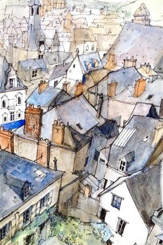 iPhone Wallpaper City, top view, houses, watercolors