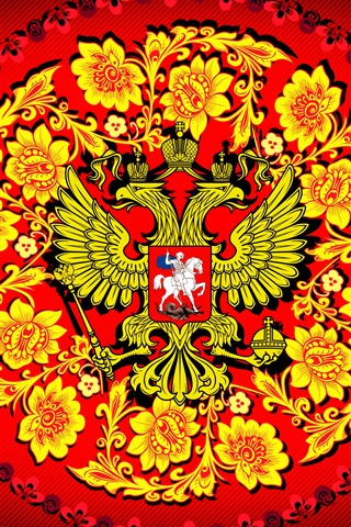 iPhone Wallpaper Coat of arms, flowers, eagle