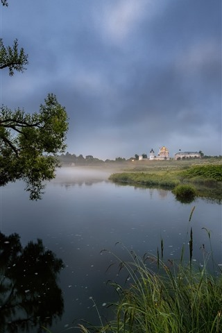 iPhone Wallpaper Countryside, lake, reeds, trees, houses, fog, morning
