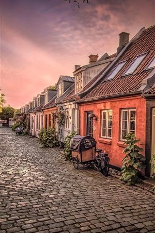 iPhone Wallpaper Denmark, Aarhus, bike, houses, street