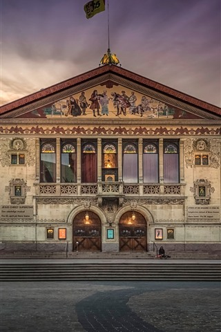 iPhone Wallpaper Denmark, theatre, dusk