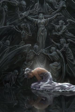 iPhone Wallpaper Fantasy girl, injured, blood, skull