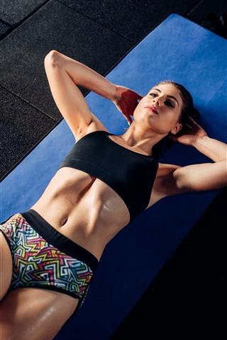 iPhone Papéis de Parede Garota fitness, ginásio, andar