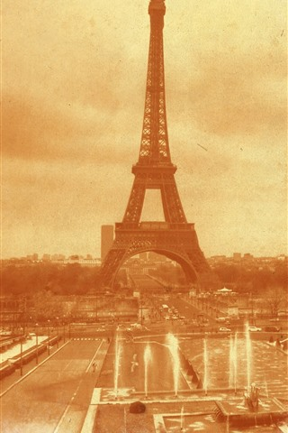 iPhone Wallpaper France, Eiffel Tower, old photo