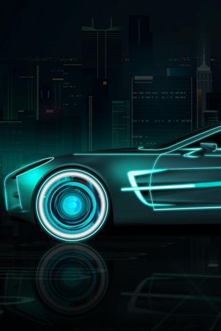 iPhone Wallpaper Future car, speed, neon, creative design