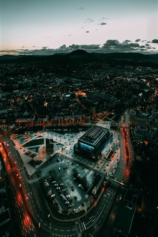 iPhone Wallpaper Germany, Baden-Wurttemberg, city, top view, night
