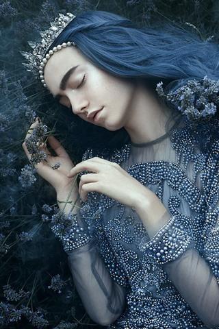 iPhone Wallpaper Girl in sleeping, crown, princess