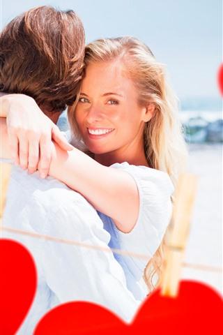iPhone Wallpaper Happy girl, smile, couple, love hearts, romantic