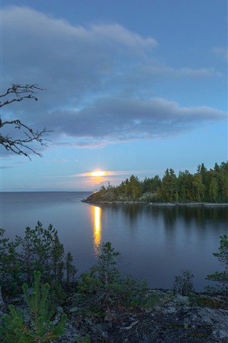 iPhone Wallpaper Lake Ladoga, Russia, trees, sunset, clouds