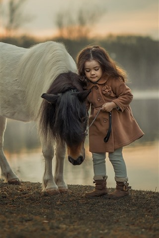 iPhone Wallpaper Little girl and pony, child