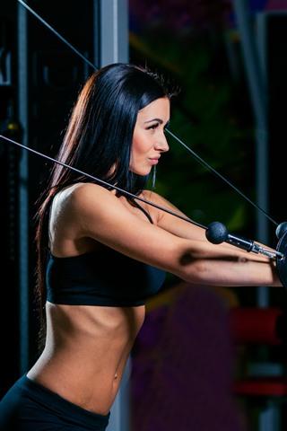 iPhone Wallpaper Long hair girl, fitness, gym