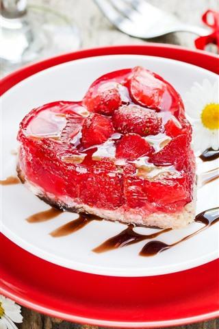 iPhone Wallpaper Love heart cake, romantic, strawberry