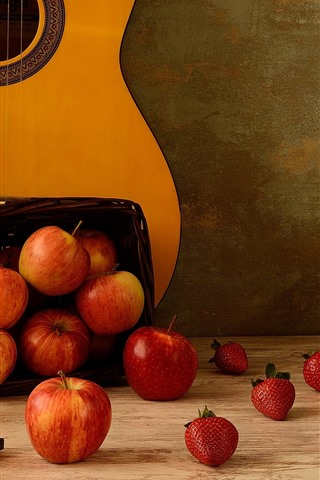 iPhone Wallpaper Many apples and strawberries, guitar