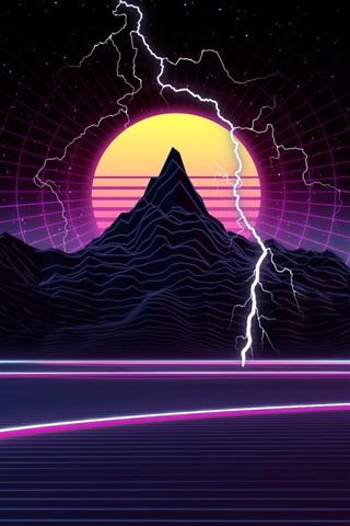iPhone Wallpaper Mountain, sunset, lightning, art picture