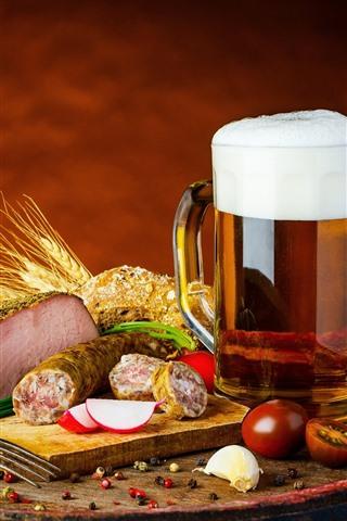 iPhone Wallpaper Mug, beer, meat, food, bread