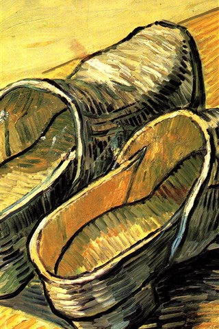iPhone Wallpaper Shoes, oil painting, Vincent van Gogh