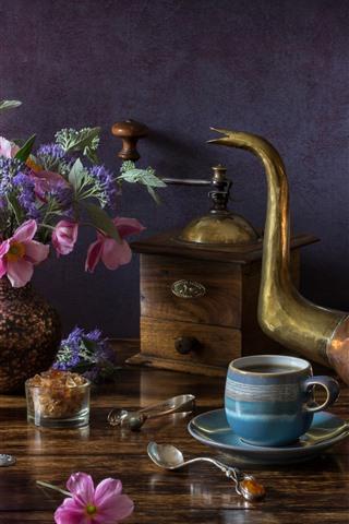 iPhone Wallpaper Still life, kettle, tea, bread, flowers, lamp