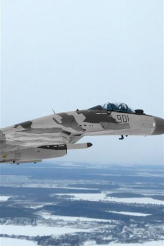 iPhone Wallpaper Su-35 multi-purpose fighter, flight, snow, winter