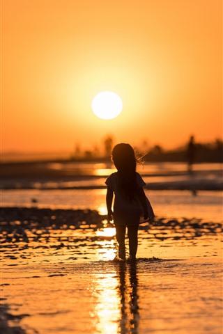 iPhone Wallpaper Sunset, river, little girl, child, silhouette