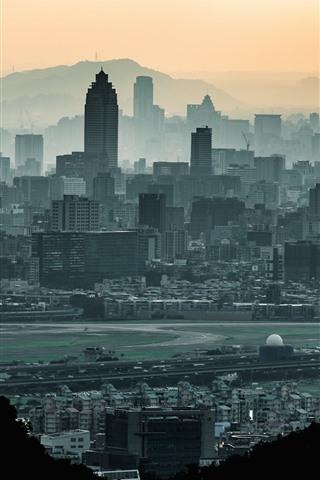 iPhone Wallpaper Taiwan, Taipei, city, skyscrapers, dusk
