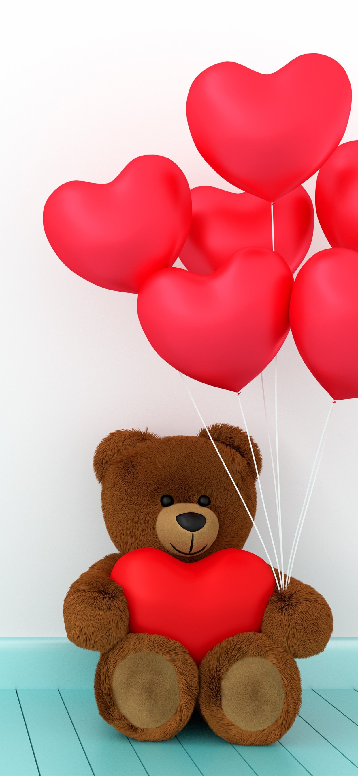 Teddy Bear Red Love Hearts Balloons Romantic 1242x2688