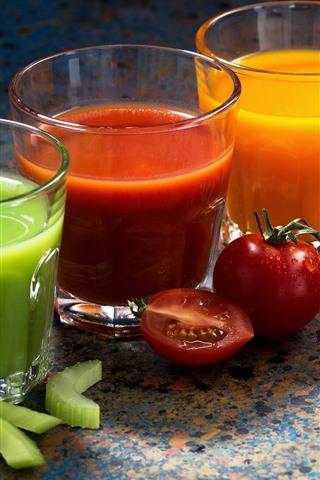 iPhone Wallpaper Three cups of vegetable juice, green, red, orange