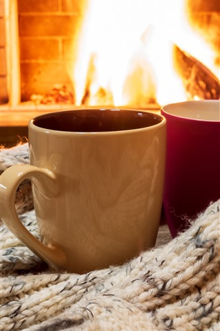 iPhone Wallpaper Two cups, sweater, fireplace