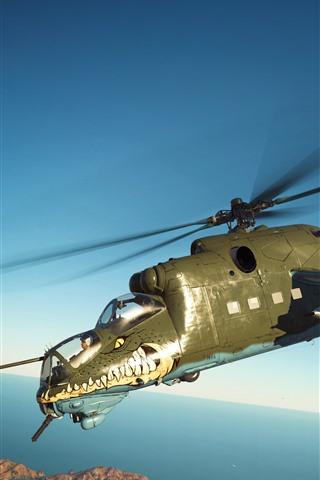 iPhone Papéis de Parede War Thunder, helicóptero, voo
