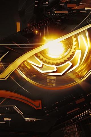 iPhone Wallpaper nVidia GeForce GTX 1080, cyborg, eye, creative design