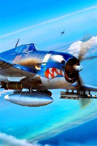 iPhone Papéis de Parede Aeronaves, bombas, nuvens, guerra, imagens de arte