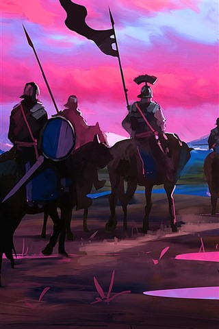 iPhone Wallpaper Art picture, knights, horses, sunset, mountains, river