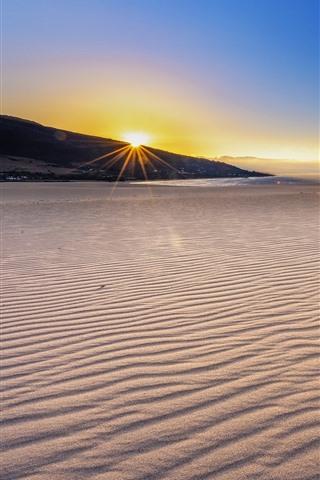 iPhone Wallpaper Beach, sands, sea, sunset