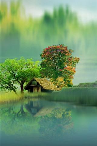 iPhone Papéis de Parede Belas paisagens, casa, lago, árvores, nevoeiro, reflexão da água