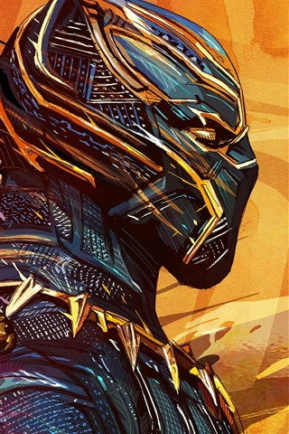 iPhone Wallpaper Black Panther, superhero, mask, art picture