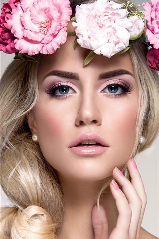 iPhone Wallpaper Blonde girl, flowers, face, blue eyes