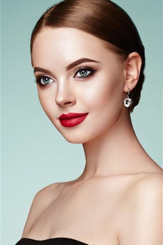 iPhone Wallpaper Blue eyes fashion girl, makeup, red lip, earrings