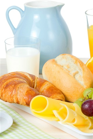 iPhone Wallpaper Bread, grapes, orange juice, egg, milk, breakfast