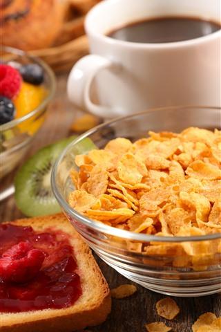 iPhone Wallpaper Breakfast, cereal, coffee, bread, fruit salad