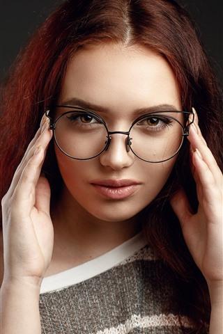 iPhone Wallpaper Brown hair girl, glasses, look