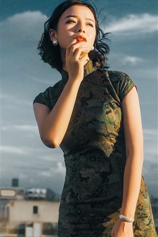 iPhone Wallpaper Cheongsam, short hair girl, roof, clouds
