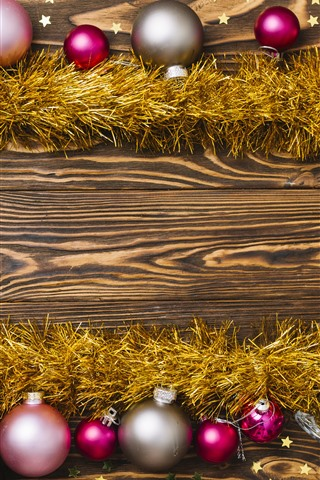 iPhone Papéis de Parede Bolas de Natal, champanhe, estrelas, decoração
