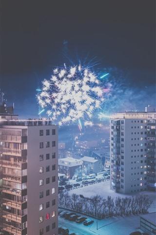 iPhone Wallpaper City, night, buildings, snow, fireworks, winter