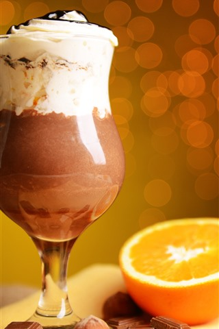 iPhone Wallpaper Cocktail, chocolate, orange, circles