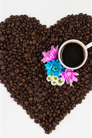 iPhone Wallpaper Coffee beans, love heart, cup, pink and blue flowers