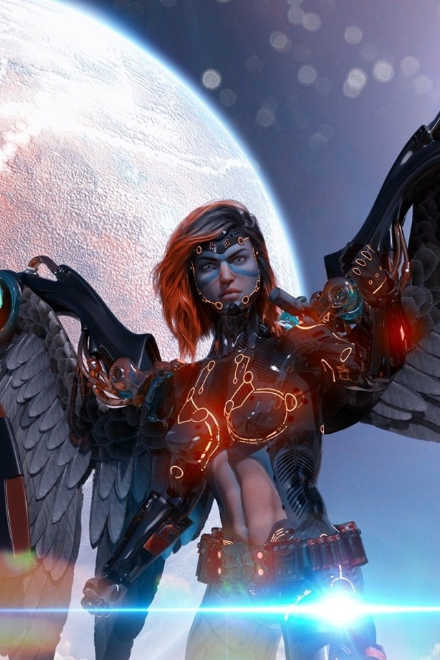 Cyborg Angel Wings Planet Creative Picture 640x960