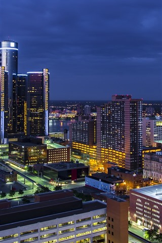 Wallpaper Detroit City Night Buildings Lights Usa 1920x1080 Full Hd 2k Picture Image